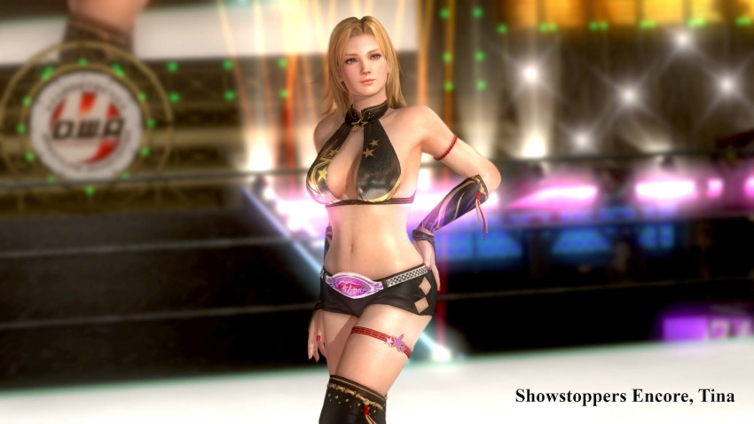 blonde_hair blue_eyes breasts dead_or_alive dead_or_alive_5 jewelry large_breasts ring tecmo tina_armstrong wrestling_outfit