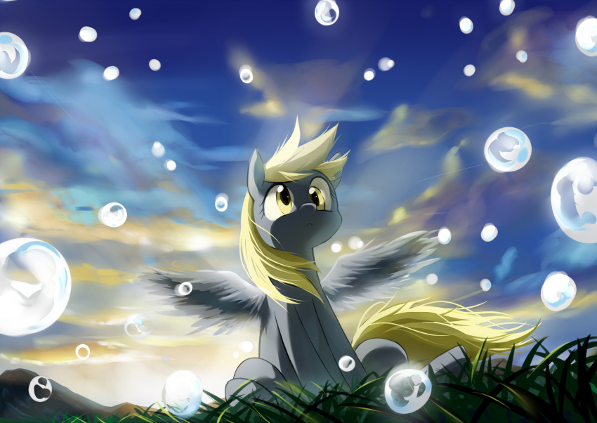 bubble caibao derpy_hooves highres my_little_pony my_little_pony_friendship_is_magic