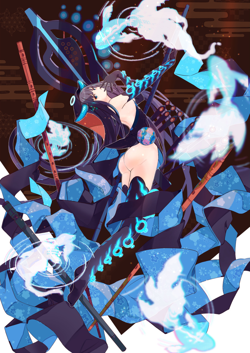 1girl absurdres arched_back ass back bangs bare_shoulders black_dress black_gloves black_headwear black_legwear blue_eyes blunt_bangs breasts dress elbow_gloves fate/grand_order fate_(series) flute full_body gloves halo highres huge_filesize instrument legs long_hair looking_at_viewer medium_breasts parted_lips pipa_(instrument) purple_hair ru_to_bi solo thigh-highs thighs very_long_hair yang_guifei_(fate/grand_order)