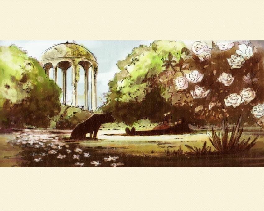 1boy 1girl animal arsene_lupin_iii castle_of_cagliostro child clarisse_de_cagliostro dog dress flower grass lupin_iii lying nature shironeri_(tunagadaisukitonight) younger
