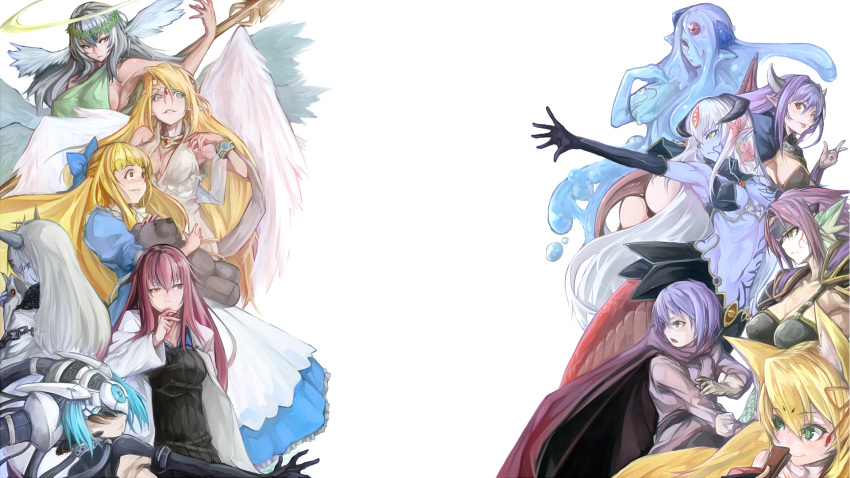 1boy 6+girls alisfieze_fateburn_xvi alma_elma alternate_hair_color android angel angel_wings animal_ears aqua_hair armor armpits ass bangs black_alice_(mon-musu_quest!) blonde_hair blue_eyes blue_skin blush breasts cape chains cleavage demon_girl dragon_girl dress elbow_gloves elvetie erubetie fan feathers gloves goo_girl granberia green_eyes grey_eyes hair_ornament hair_over_one_eye hair_ribbon halo headgear highres horns ilias jewelry kitsune la_croix lamia laplace_(mon-musu_quest!) long_hair looking_at_another lots_of_jewelry luka_(mon-musu_quest!) machine mask midriff mon-musu_quest! monster_girl multiple_girls multiple_tails navel one_eye_closed one_eye_covered open_mouth opposing_sides pointy_ears promestein purple_hair red_cape red_eyes redhead ribbon robot_girl scales seraph_eden serious short_hair sideboob sidelocks silver_hair simple_background smile smirk solidstatesurvivor spoilers stuffed_animal stuffed_toy succubus tail tamamo_(mon-musu_quest!) tattoo tattooed_breast teddy_bear tongue tongue_out very_long_hair white_background wings yellow_eyes