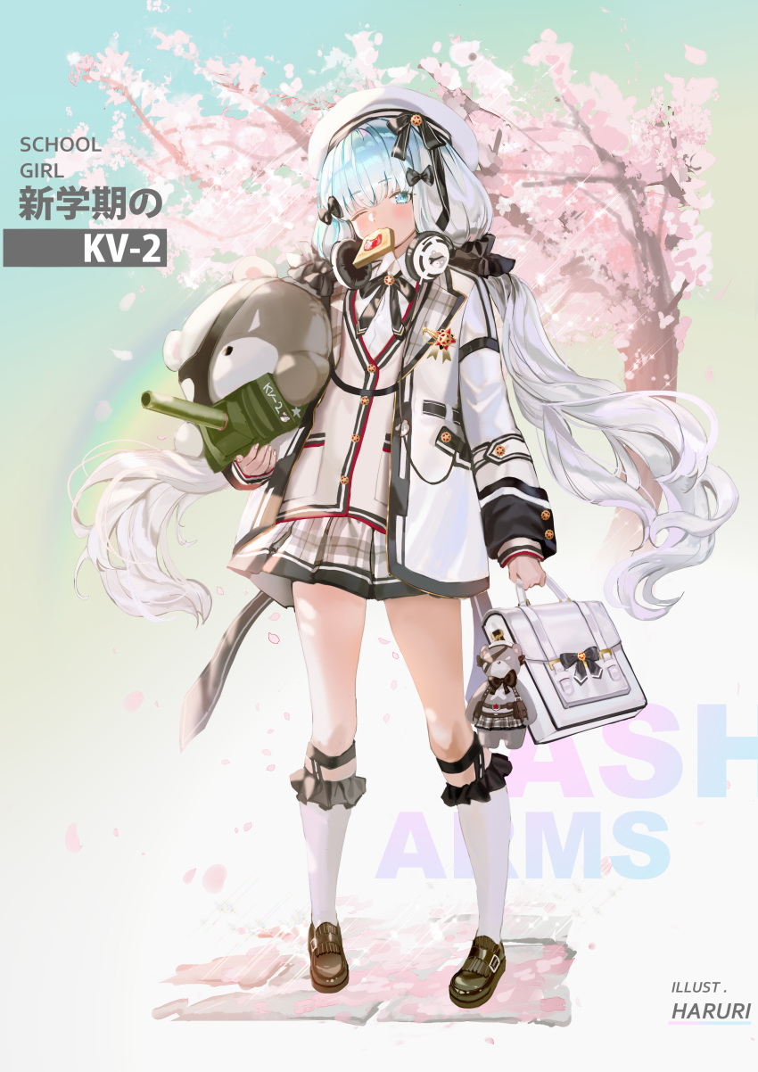 1girl absurdres ash_arms bag_charm bangs black_footwear black_sclera blue_eyes blue_hair blush cannon charm_(object) cherry_blossoms collared_shirt commentary_request copyright_name eyebrows_visible_through_hair eyepatch food food_in_mouth full_body gradient_hair hair_ornament hair_scrunchie headphones headphones_around_neck highres holding jacket kneehighs kv-2_(ash_arms) loafers long_hair looking_at_viewer low_twintails mouth_hold mullpull multicolored_hair one_eye_closed open_clothes open_jacket petals pleated_skirt school_briefcase scrunchie shirt shoes skirt solo sparkle standing stuffed_animal stuffed_toy teddy_bear toast toast_in_mouth tree turret twintails very_long_hair white_hair white_jacket white_legwear white_shirt white_skirt