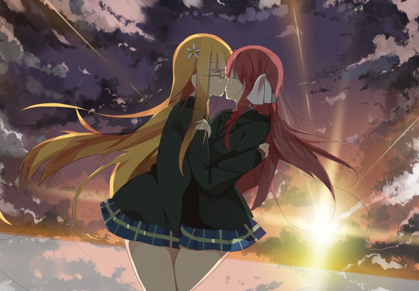 2girls backlighting blazer blonde_hair bow cheating closed_eyes clouds flower glasses hair_bow hair_flower hair_ornament hair_ribbon highres hug kiss long_hair multiple_girls netorare plaid plaid_skirt redhead ribbon sakura_trick school_uniform senya_fuurin skirt sonoda_mitsuki sun sunset takayama_haruka yuri