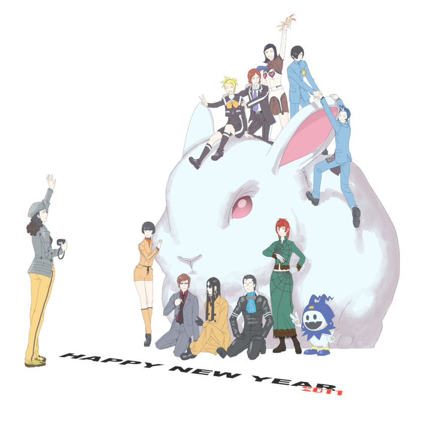 10s 2011 5girls 6+boys amano_maya baofu camera everyone happy_new_year highres kirishima_eriko kurosu_jun lisa_silverman mayuzumi_yukino mishina_eikichi multiple_boys multiple_girls nanjou_kei new_year persona persona_2 rabbit serizawa_ulala suou_katsuya suou_tatsuya