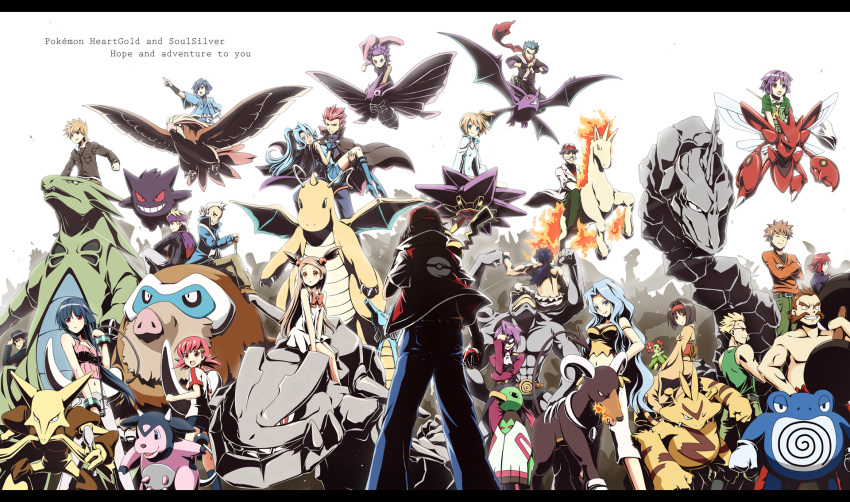 00s 6+boys 6+girls akane_(pokemon) akkijin alakazam anime_coloring anzu_(pokemon) back bald bellossom black_hair blonde_hair bloom blue_hair brown_hair bug_net cape carrying crobat dragonite electabuzz elite_four english epic erika_(pokemon) everyone facial_hair flying formal gengar gym_leader hair_ornament hair_over_one_eye hairband hairclip hat hayato_(pokemon) highres hitmonchan ho-oh holding holding_poke_ball horn houndoom ibuki_(pokemon) itsuki_(pokemon) japanese_clothes karin_(pokemon) kasumi_(pokemon) katsura_(pokemon) kimono kingdra kyou_(pokemon) letterboxed long_hair lugia machamp machisu_(pokemon) magnemite mamoswine mask matis_(pokemon) matsuba_(pokemon) mikan_(pokemon) miltank multiple_boys multiple_girls mustache natsume_(pokemon) ninja nintendo onix ookido_green pidgeot pikachu poke_ball pokemon pokemon_(creature) pokemon_(game) pokemon_hgss poliwrath ponytail princess_carry purple_hair rapidash red_(pokemon) redhead ribbon riding sakaki_(pokemon) scarf scizor shiba_(pokemon) shijima_(pokemon) short_hair side_ponytail silver_(pokemon) silver_hair spoon starmie steelix suit sunglasses swimsuit takeshi_(pokemon) tsukushi_(pokemon) twintails tyranitar venomoth wataru_(pokemon) whip white_hair xatu yanagi_(pokemon)