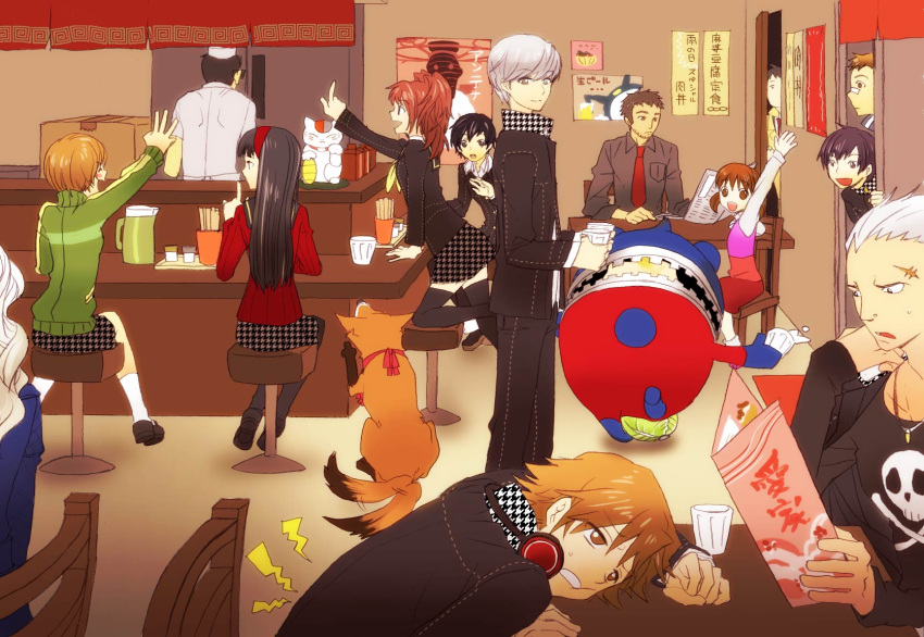 6+boys 6+girls :d adachi_tooru amagi_yukiko androgynous athlete atlus bandaid bandaid_on_nose bare_legs black_hair blue_hair blush_stickers breasts brown_hair cardigan chair crossdressing cup doujima_nanako doujima_ryoutarou earrings everyone formal green_shirt grey_hair hanamura_yousuke headphones highres ichijou_kou indoors jacket jacket_on_shoulders jewelry jolly_roger kitsune_(persona_4) kneehighs kujikawa_rise kuma_(persona_4) kuronomine legs long_sleeves long_twintails margaret margaret_(persona) medium_breasts megami_tensei menu multiple_boys multiple_girls nagase_daisuke narukami_yuu necktie open_mouth pantyhose persona persona_4 piercing purple_hair reverse_trap satonaka_chie saving scar school_uniform serafuku shin_megami_tensei shirogane_naoto shirt short_twintails sick sideboob sitting skirt small_breasts smile socks standing stool straight_hair suit sweatdrop sweater tail tail_wagging tatsumi_kanji thigh-highs tomboy track_jacket twintails waving white_hair
