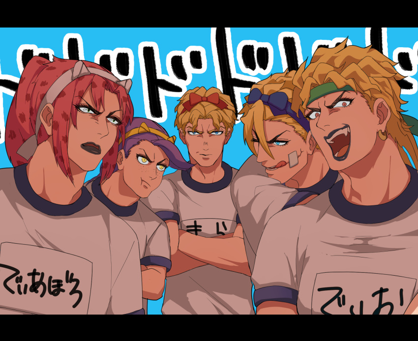 animal_ears bandaid bandaid_on_face black_eyes blonde_hair blue_eyes bow crossed_arms diavolo diego_brando dio_brando earrings fake_animal_ears fang freckles hair_ribbon headband highres jewelry jojo_no_kimyou_na_bouken kira_yoshikage letterboxed lipstick makeup open_mouth orange_eyes pink_hair ponytail pout purple_hair purple_lipstick ribbon shirt smile steel_ball_run t-shirt tongue tongue_out translation_request vinegar_doppio yanoooh yellow_eyes