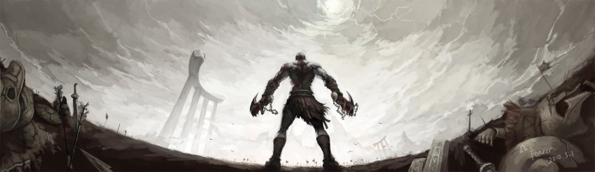 10s 1boy 2010 arrow chains fenrir_(buzhidaoshishuei) fisheye from_behind god_of_war highres kratos long_image male_focus pteruges sky solo standing wide_image