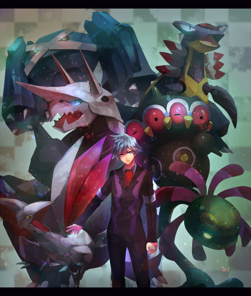 00s 1boy aggron armaldo ascot claydol clenched_hands cradily creature extra_eyes formal highres horns long_sleeves looking_at_viewer male_focus metagross ouri pants pokemon pokemon_(game) pokemon_rse silver_hair skarmory solo suit tsuwabuki_daigo