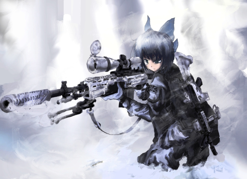 1girl assault_rifle bad_id call_of_duty call_of_duty:_modern_warfare_2 cirno gun koh_(minagi_kou) rifle scope sling smoke smoking_gun sniper_rifle solo terabyte_(rook777) touhou weapon