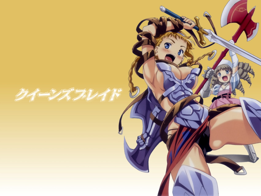 2girls arm_up armor armpits axe belt black_panties blonde_hair blue_eyes blush braid breasts buckle cleavage dress drill_hair female flat_chest gloves hair_ornament hat highres huge_weapon kuuchuu_yousai large_breasts leina loincloth long_hair multiple_girls no_bra open_mouth panties queen's_blade shield sideboob silver_hair striped sword thigh-highs twin_braids underwear wallpaper weapon ymir_(queen's_blade)
