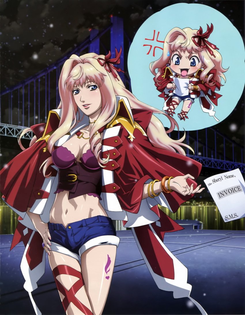 1girl absurdres anger_vein blonde_hair blue_eyes blush breasts bustier chibi cleavage cupping_glass denim denim_shorts dress earrings hand_on_hip highres jewelry macross macross_frontier macross_frontier:_itsuwari_no_utahime marufuji_hirotaka midriff navel official_art open_mouth parted_lips ribbon scan sheryl_nome shiny shiny_skin shorts skindentation thigh_ribbon