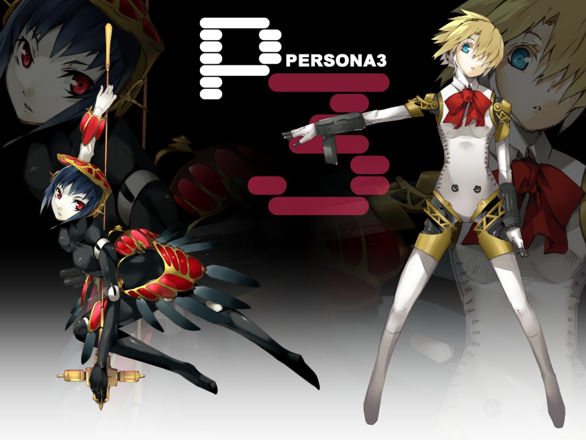 aegis aegis_(persona) android atlus black_hair blonde_hair blue_eyes bow g_yuusuke hair_over_one_eye highres metis persona persona_3 red_eyes ribbon wallpaper weapon