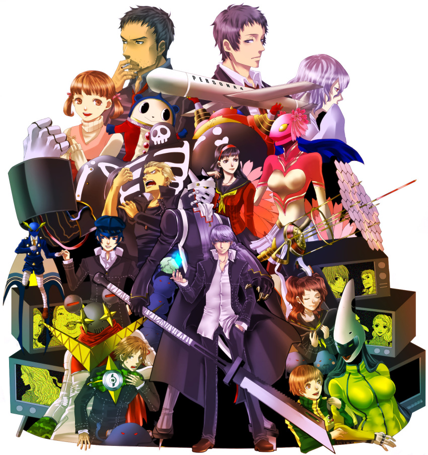 adachi_tohru amagi_yukiko androgynous bear black_eyes black_hair blue_eyes blue_hair brown_eyes brown_hair cabbie_hat card card_with_aura chiru_(sanifani) cigarette doujima_nanako doujima_ryoutarou everyone floating_card formal hairband hanamura_yousuke hat headphones highres ichijou_kou igor izanagi izanami jacket kashiwagi_noriko konishi_saki kujikawa_rise kuma_(persona_4) long_hair margaret mascot nagase_daisuke narukami_yuu necktie ootani_hanako open_clothes open_jacket persona persona_4 pins purple_eyes purple_hair red_eyes red_hair redhead reverse_trap satonaka_chie scar school_uniform serafuku seta_souji shirogane_naoto short_hair silver_hair skirt smile smoking suit sword tatsumi_kanji television tomboy track_jacket twintails violet_eyes weapon