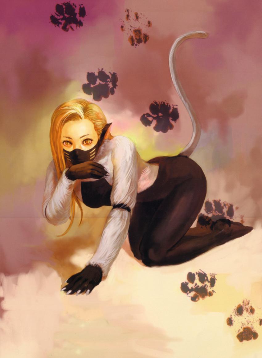 1girl absurdres animal_ears atlus blonde_hair cat_ears face_mask fur half_mask highres kazuma_kaneko mask nekomata nekomata_(megami_tensei) paws shin_megami_tensei solo tail yellow_eyes
