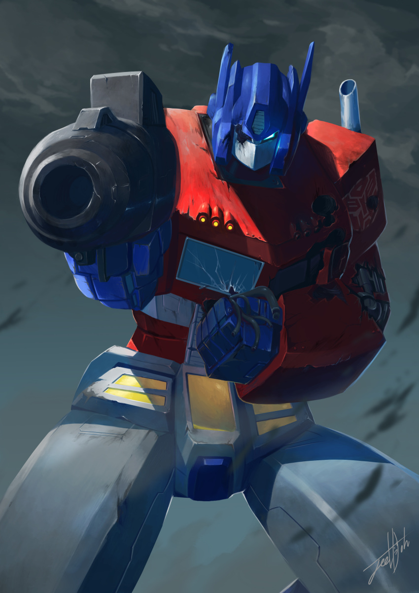 absurdres aiming_at_viewer angry artist_request autobot beam_rifle bullet_hole cable clouds damaged energy_cannon energy_gun highres insignia jeetdoh looking_at_viewer mecha no_humans one-eyed optimus_prime realistic robot science_fiction signature spoilers transformers weapon