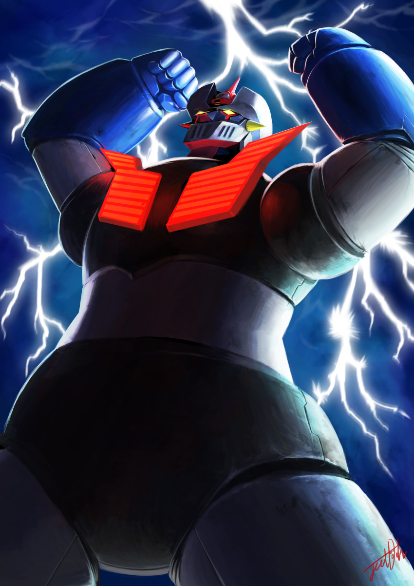 absurdres clenched_hands glowing highres jeetdoh lightning mazinger_z mazinger_z_(mecha) mecha outstretched_arms pilder realistic science_fiction signature super_robot