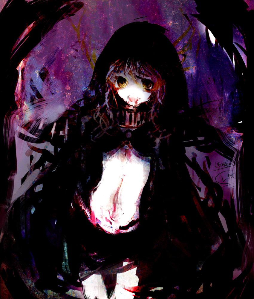 1girl abstract_background assi bloody_mouth character_name faux_traditional_media highres hood hooded_jacket jacket kantai_collection looking_at_viewer messy_hair navel o-ring_top pale_skin purple_background re-class_battleship shinkaisei-kan shorts signature smeared_blood solo teeth texture turret white_hair yellow_eyes
