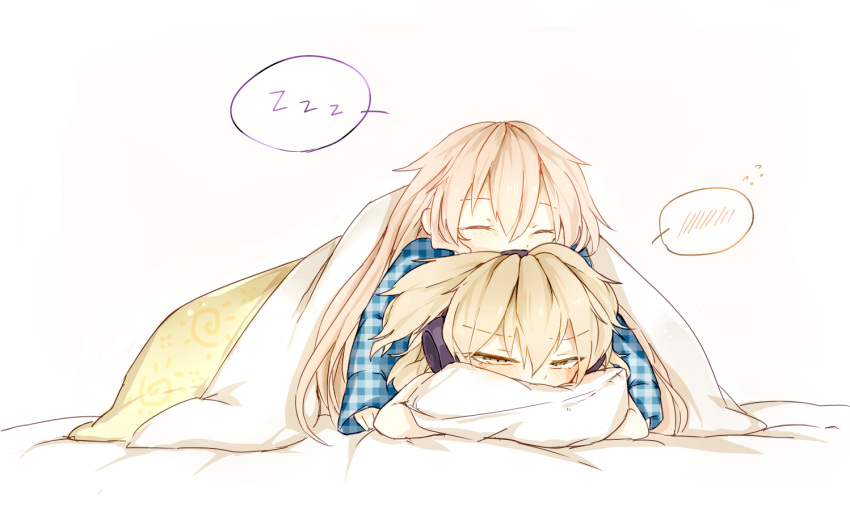 2girls blanket blush brown_hair earmuffs hata_no_kokoro headphones huang_li_ling long_sleeves multiple_girls pillow pink_hair plaid plaid_shirt pointy_hair shirt simple_background sleeping sleeping_on_person speech_bubble touhou toyosatomimi_no_miko yellow_eyes zzz