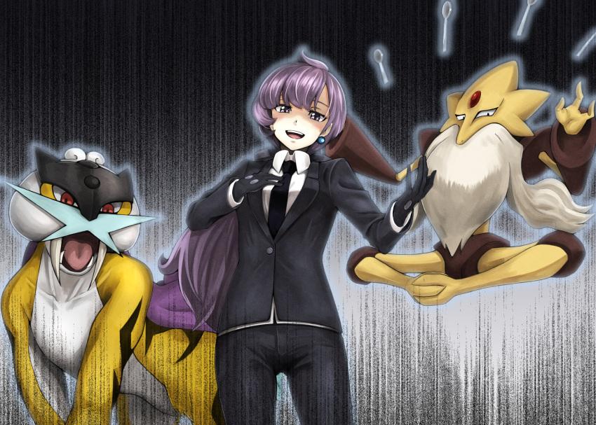 1girl alakazam earrings formal gloves highres jewelry lila_(pokemon) mega_alakazam mega_pokemon necktie pokemon pokemon_(creature) pokemon_(game) pokemon_sm purple_hair raikou spoon suit tsuhiki_koyomi violet_eyes