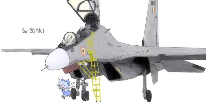 1girl aircraft airplane chibi cirno female fighter_jet jet military military_vehicle solo su-30 touhou wings