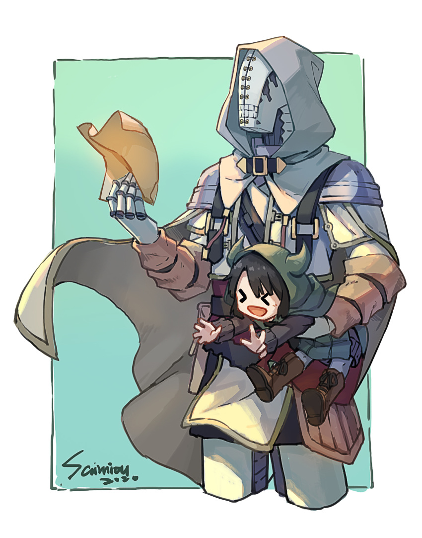 >_< :d artist_name black_hair boots brown_footwear cape carrying_under_arm dated golem golem_(somali_to_mori_no_kami-sama) highres horned_hood open_mouth paper pouch samiou simple_background smile somali_(somali_to_mori_no_kami-sama) somali_to_mori_no_kami-sama standing