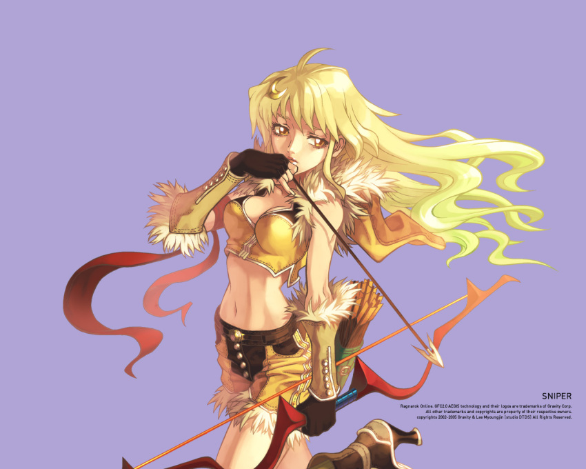 1girl arrow blonde_hair bow_(weapon) high_heels marksman midriff myung-jin_lee official_art quiver ragnarok_online shorts sniper sniper_(ragnarok_online) weapon