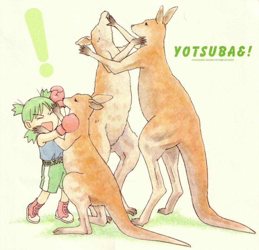 ! 1girl azuma_kiyohiko battle boxing boxing_gloves child highres kangaroo koiwai_yotsuba quad_tails scan solo yotsubato!