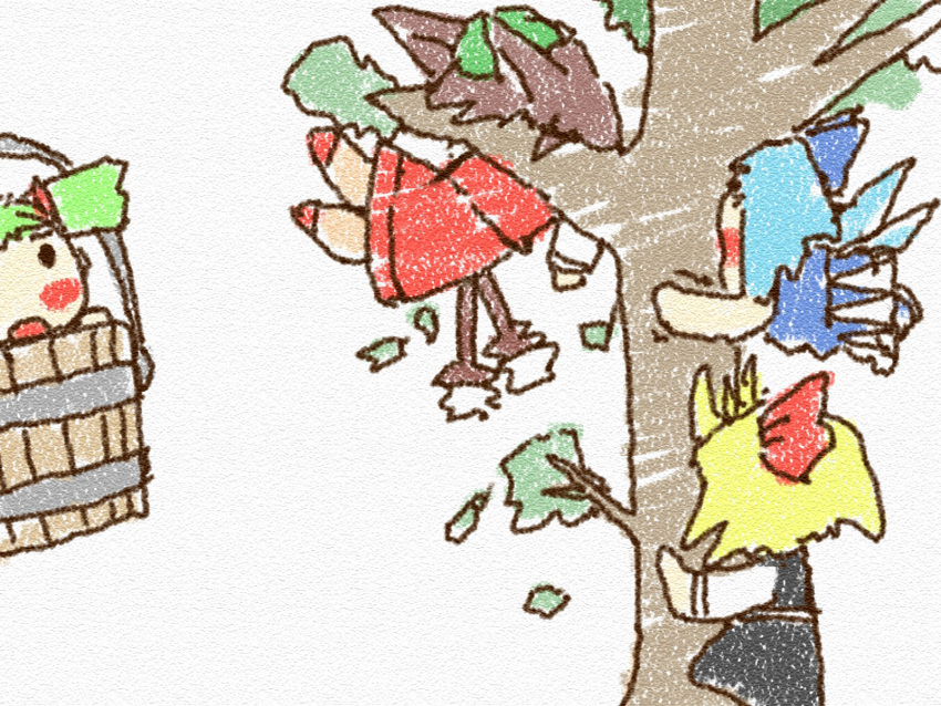 bad_id blonde_hair blue_hair brown_hair bucket cat_ears cat_tail chen chibi cirno climbing green_hair hat highres in_bucket in_container in_tree kisume rumia short_hair tail team_9 touhou tree wings yosudon