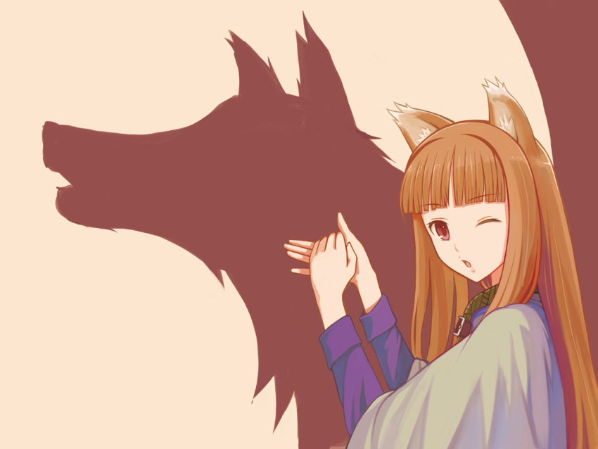 :o animal_ears bad_id bangs blunt_bangs brown_hair different_shadow hand_gesture holo long_hair red_eyes shadow shadow_puppet shadowgraphy silhouette spice_and_wolf wink wolf wolf_ears yuugiri