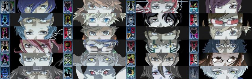 6+boys 6+girls aegis aegis_(persona) amada_ken aragaki_shinjirou arisato_minato atlus column_lineup crossover devil_summoner digital_devil_saga elizabeth_(persona) everyone eyes fushimi_chihiro hazama_ideo highres hitoshura iori_junpei katsuya_suou kido_reiji kirijou_mitsuru kirishima_eriko koromaru kuzunoha_raidou lisa_silverman long_image mary_(soul_hackers) megami_tensei multiple_boys multiple_girls narita_akane persona persona_1 persona_2 persona_3 persona_eyes sakaki_takaya sanada_akihiko serph shin_megami_tensei:_if... shin_megami_tensei_iii:_nocturne shirato_jin soul_hackers suou_katsuya takeba_yukari tarot wide_image yamagishi_fuuka yoshino_chidori yuuki_makoto