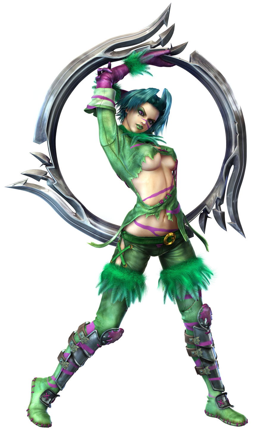 1girl 3d absurdres arms_up bangs belt blue_hair bodypaint boots breasts breasts_apart chakram cross-laced_clothes elbow_gloves eyelashes eyeshadow facepaint facial_mark feathers full_body fur_trim gloves green_boots green_lipstick head_tilt highres holding holding_arm holding_weapon huge_weapon kawano_takuji large_breasts leather leather_pants legs_apart lipstick looking_at_viewer makeup midriff mole mole_under_eye navel no_bra pants parted_lips purple_gloves revealing_clothes shin_guards short_hair simple_background sleeves_folded_up solo soul_calibur soulcalibur_iii standing thigh-highs thigh_boots tira_(soulcalibur) torn_clothes under_boob violet_eyes weapon white_background