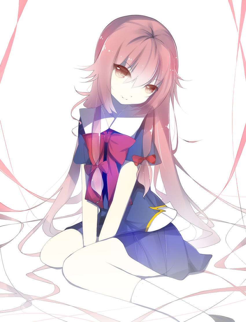 1girl absurdres arms_between_legs between_legs blue_skirt bow brown_eyes eyebrows_visible_through_hair gasai_yuno hair_between_eyes hair_bow hand_between_legs head_tilt highres long_hair looking_at_viewer mirai_nikki pink_hair pleated_skirt red_bow ribbon senya_fuurin simple_background sitting skirt smile solo white_background white_legwear