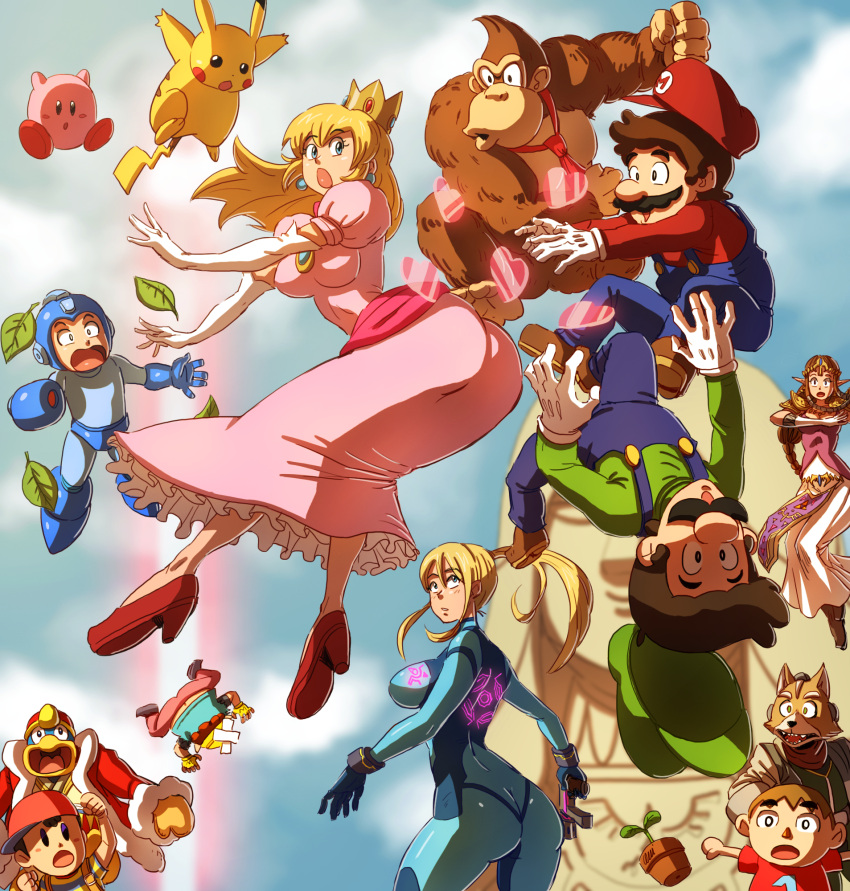 3girls 6+boys :o animal animal_crossing animal_crossing:_city_folk animal_crossing_wild_world animal_ears anomal ape ape_(company) arm_cannon ass baseball_cap battle blonde_hair blue_eyes bodysuit brown_hair butt_crack capcom clenched_hands creatures_(company) crossover crown dairantou!_smash_brothers_for_wii_u_and_3ds donkey_kong donkey_kong_(series) doubutsu_no_mori dress earrings elbow_gloves elf eyebrows eyebrows_visible_through_hair facial_hair flower_pot fox_ears fox_mccloud frilled_dress frills fur game_freak gloves hal_laboratory_inc. hat heart helmet high_heels highres hip_attack holding holding_weapon hoshi_no_kirby human hylian intelligent_systems jewelry king_dedede kirby kirby_(series) leaf long_hair looking_at_another looking_back looking_up luigi machi_e_ikou_yo:_doubutsu_no_mori mario mario_(series) metroid multiple_boys multiple_girls mustache necktie ness nintendo nintendo_ead oideyo!_doubutsu_no_mori olm_digital onichan-xd open_mouth overalls pants pikachu pink_dress pointy_ears pokemon_(creature) ponytail princess_peach princess_zelda rockman rockman_(character) rockman_(classic) samus_aran shirt short_sleeves skin_tight sora_(company) star_fox striped striped_shirt super_mario_bros. super_smash_bros. super_smash_bros_brawl super_smash_bros_for_wii_u_and_3ds t-shirt tail the_legend_of_zelda tiara upside-down vest villager_(doubutsu_no_mori) wario wario_land warioware weapon zelda_no_densetsu zero_suit