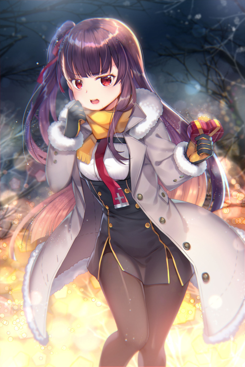1girl bangs black_dress black_gloves black_legwear blurry blurry_background blush box breasts capura_lin coat commentary_request depth_of_field dress eyebrows_visible_through_hair fringe fur-trimmed_coat fur-trimmed_sleeves fur_trim gift gift_box girls_frontline gloves grey_coat hair_ribbon heart-shaped_box highres holding holding_gift long_hair looking_at_viewer night night_sky open_clothes open_coat open_mouth outdoors pantyhose purple_hair red_eyes red_neckwear red_ribbon ribbon scarf side_ponytail sky small_breasts solo upper_teeth valentine very_long_hair wa2000_(girls_frontline) yellow_scarf