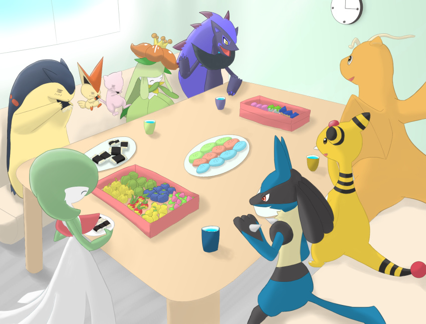 ampharos dragonite eating food gardevoir lilligant lucario mew mieu no_humans pokemon table typhlosion victini zoroark
