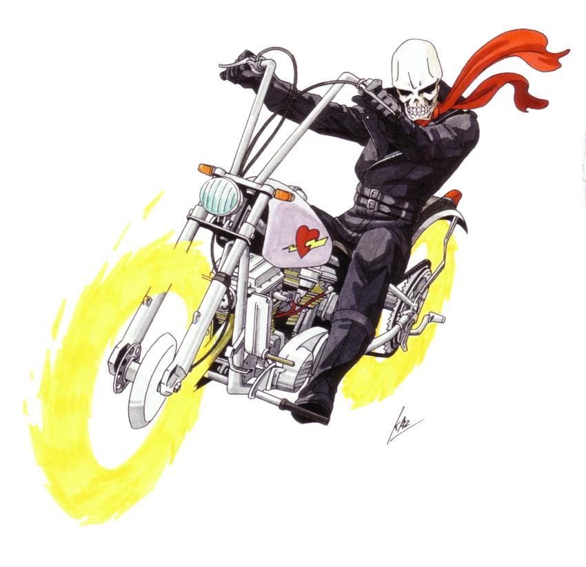 1boy artist_name biker_clothes ground_vehicle hell_biker hell_biker_(megami_tensei) highres kazuma_kaneko looking_at_viewer motor_vehicle motorcycle official_art oldschool scarf shin_megami_tensei skull