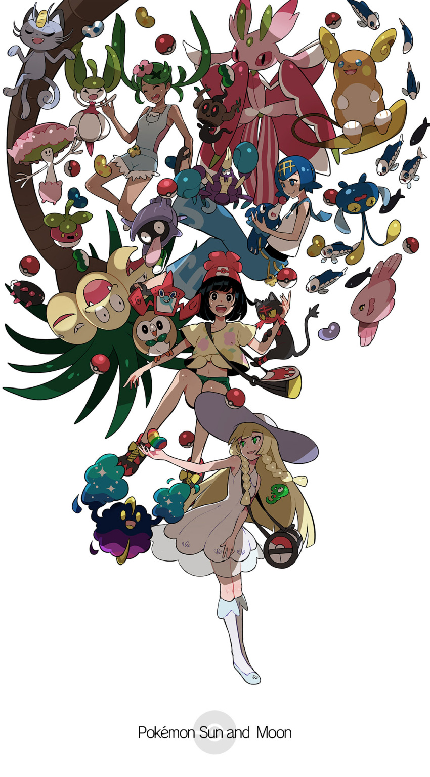 4girls alolan_exeggutor alolan_meowth alolan_raichu alomomola bounsweet chinchou cosmog crabrawler female_protagonist_(pokemon_sm) full_body highres lillie_(pokemon) litten lurantis mao_(pokemon) multiple_girls phantump poke_ball poke_bean pokemon_(creature) pokemon_(game) pokemon_sm popplio pyukumuku ram_(ramlabo) rotom rowlet shellder shiinotic simple_background steenee suiren_(pokemon) trial_captain white_background wishiwashi zygarde_cell