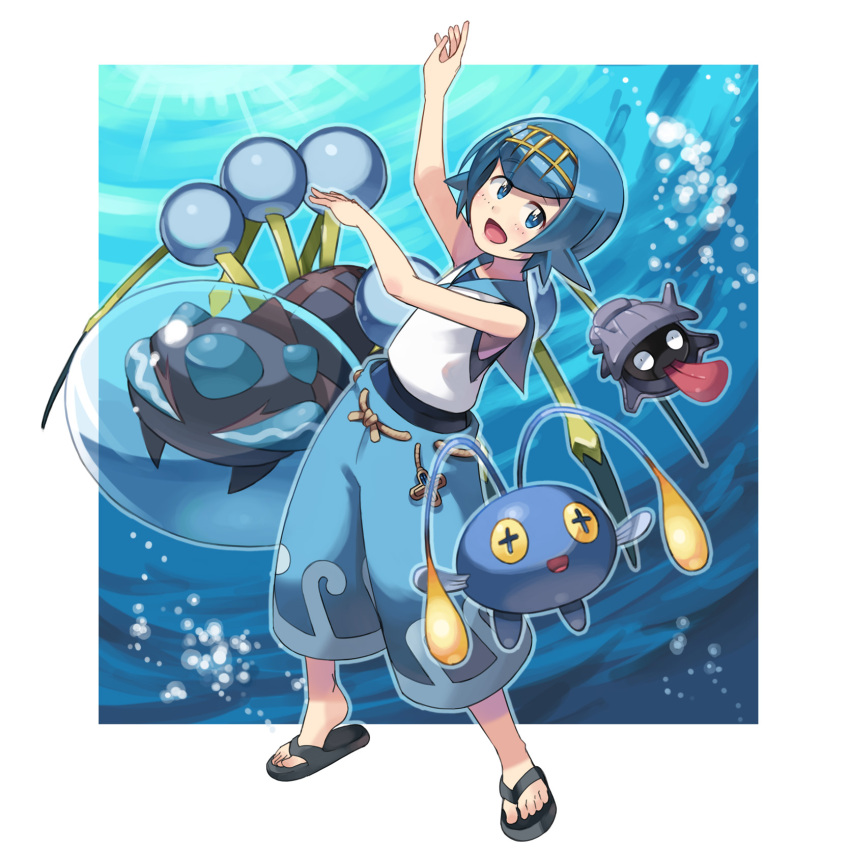 1girl araquanid blue_eyes blue_hair blue_pants chinchou hairband highres open_mouth pants pokemon pokemon_(creature) pokemon_(game) pokemon_sm sandals shellder short_hair sleeveless suiren_(pokemon) swimsuit swimsuit_under_clothes trial_captain yuta0115