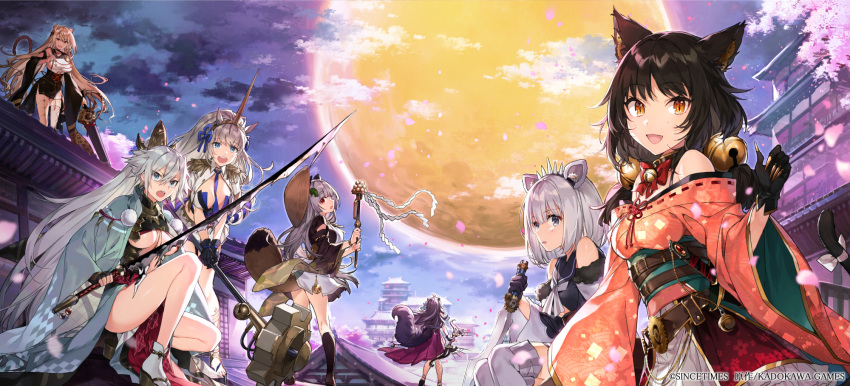 6+girls animal_ears architecture bell belt blackgloves blue_eyes blue_neckwear bow breasts cat_ears cat_tail cherry_blossoms claws company_name east_asian_architecture gears grey_hair hairband highres horn horse_ears japanese_clothes jingle_bell kagura_suzu kimono long_hair medium_breasts moon multiple_girls night official_art open_mouth petals raccoon_tail red_bow red_ribbon ribbon ribbon-trimmed_clothes ribbon_trim sandals shirako_miso short_hair silver_hair smile squatting standing sword tail under_boob very_long_hair weapon wide_sleeves wolf_ears wolf_tail
