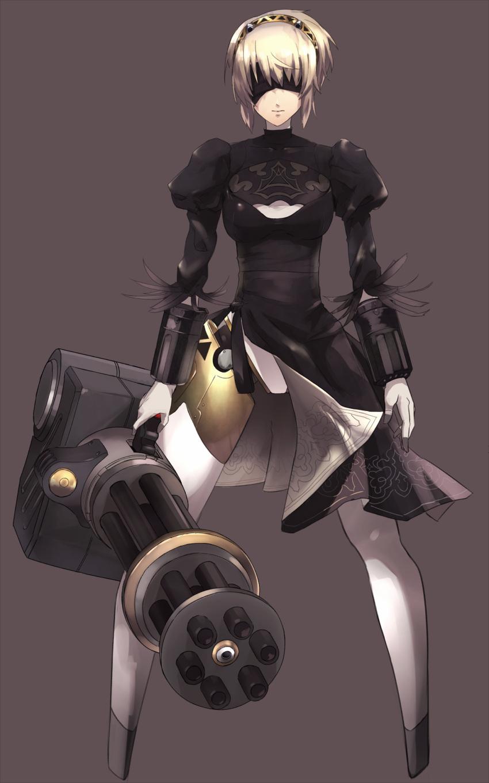 1girl absurdres aegis aegis_(persona) android black_dress blindfold blonde_hair cosplay dress gatling_gun gun highres huge_weapon nier_(series) nier_automata persona persona_3 rdc7229 robot robot_joints solo weapon yorha_no._2_type_b yorha_no._2_type_b_(cosplay) yorha_unit_no._2_type_b yorha_unit_no._2_type_b_(cosplay)
