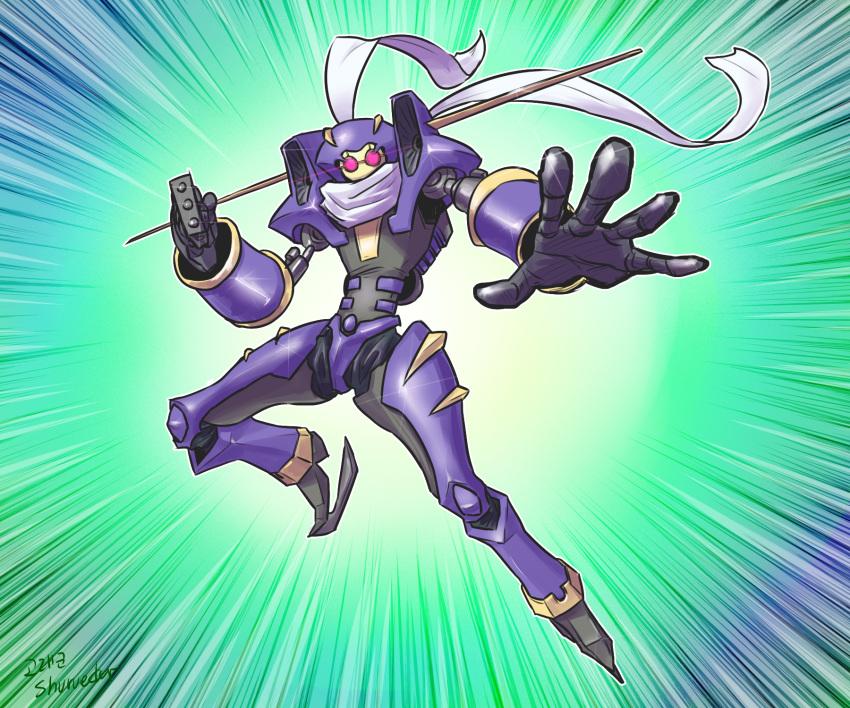 duel_monster highres junk_warrior mecha monster scarf skates wings yu-gi-oh! yuu-gi-ou_5d's