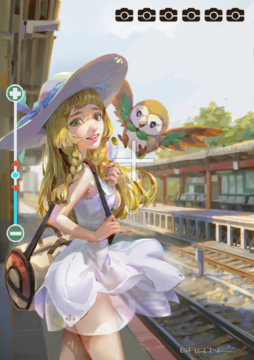 1girl artist_name bag bite_mark blonde_hair blue_ribbon braid day dress green_eyes grin hat hat_ribbon highres lillie_(pokemon) long_hair open_mouth outdoors parted_lips poke_ball_print pokemon pokemon_(creature) pokemon_(game) pokemon_sm railroad_tracks realistic ribbon rowlet shaded_face shengyi_sun shoulder_bag sleeveless sleeveless_dress smile solo standing teeth train_station vanishing_point viewfinder white_dress white_hat