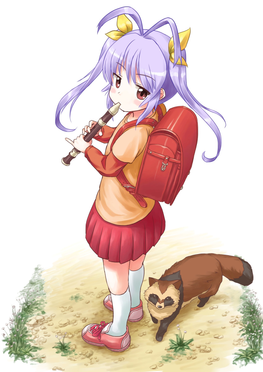 1girl ahoge animal antenna_hair backpack bag blush_stickers expressionless eyebrows from_above full_body grass ground gu_(non_non_biyori) hair_ornament hair_ribbon highres instrument jitome lavender_hair long_hair looking_at_viewer miyauchi_renge music non_non_biyori playing_instrument pleated_skirt randoseru recorder red_eyes ribbon shirt shoelaces shoes short_over_long_sleeves skirt sneakers socks standing tanuki tsukikusa_(hirukawa_sh) twintails white_background