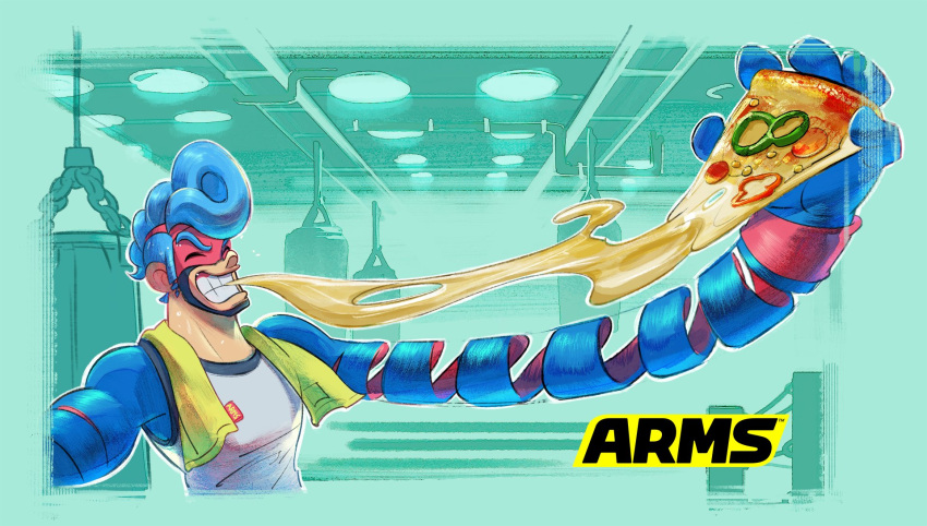 1boy aqua_background arms_(game) blue_hair cheese_trail closed_eyes domino_mask eating food highres ishikawa_masaaki long_arms mask nintendo official_art pizza pompadour punching_bag simple_background smile spring_man_(arms) tank_top upper_body wristband