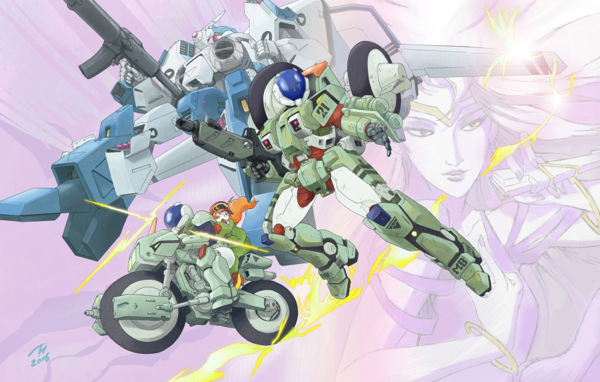 1girl 2016 3boys beam_rifle dated energy_gun energy_weapon gloves ground_vehicle gunpod hat heads-up_display helmet highres kikou_souseiki_mospeada kujira_gunsou legioss mecha mint_labule missile mospeada mospeada_(mecha) motor_vehicle motorcycle multiple_boys power_armor ray_(mospeada) redesign rocket_launcher science_fiction signature stick_bernard trap tread weapon yellow_belmont