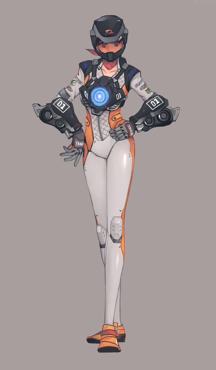 1girl absurdres alternate_costume biker_clothes bikesuit bodysuit character_name clothes_writing collarbone emblem gloves grey_gloves hands_on_hips harness helmet highres knee_pads logo long_sleeves looking_at_viewer mach_t_(overwatch) neosnim overwatch red_scarf scarf shoes simple_background solo standing strap tracer_(overwatch) vambraces yellow_shoes