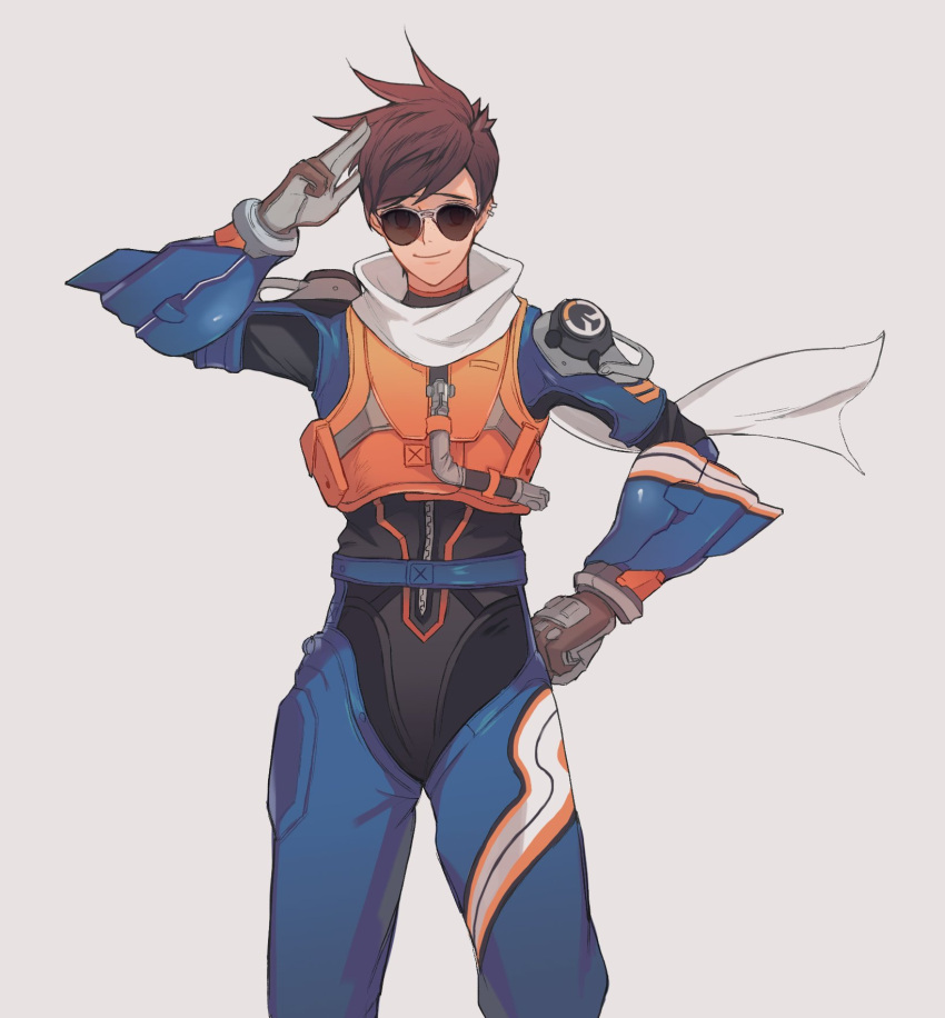 1girl alternate_costume armor bangs body_armor bodysuit bracer brown_eyes brown_gloves brown_hair closed_mouth cowboy_shot ear_piercing gloves grey_background hand_on_hip highres legs_apart looking_at_viewer neosnim overwatch piercing salute scarf short_hair shoulder_pads simple_background slipstream_tracer smile solo spiky_hair sunglasses swept_bangs tracer_(overwatch) turtleneck two-finger_salute vambraces zipper