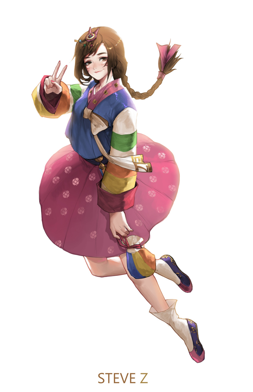 1girl absurdres alternate_costume alternate_hairstyle artist_name bag bangs blush bow braid brown_eyes brown_hair bunny_hair_ornament closed_mouth d.va_(overwatch) facepaint facial_mark fingernails full_body hair_bow hair_ornament hair_ribbon hanbok hand_up highres holding kinchaku korean_clothes long_fingernails long_hair long_sleeves looking_at_viewer multicolored multicolored_stripes nail_polish overwatch palanquin_d.va pink_nails pink_skirt pouch purple_bow ribbon shoes simple_background single_braid skirt smile socks solo steve_zheng striped striped_sleeves swept_bangs tassel v whisker_markings white_background white_legwear