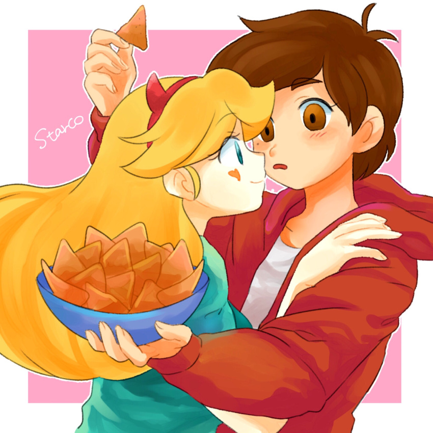 1boy 1girl blonde_hair blue_eyes blush bowl brown_eyes brown_hair calpis_um eye_contact facial_mark hairband hand_on_another's_shoulder heart_cheeks highres hood hood_down hoodie horned_headwear long_hair looking_at_another marco_diaz nachos smile star_butterfly star_vs_the_forces_of_evil surprised